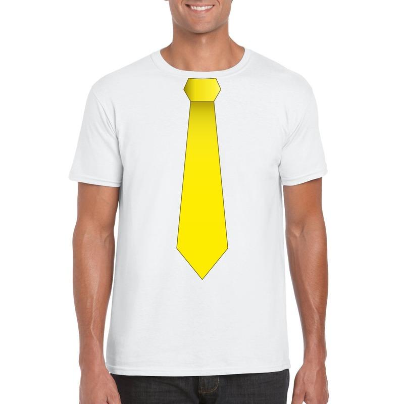 Wit t shirt met gele stropdas heren