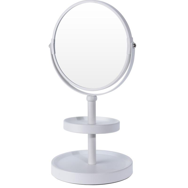 Witte make-up spiegel met sieraden plateau 25 cm