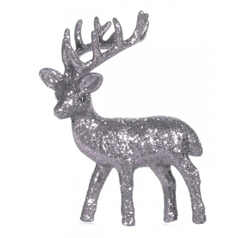 Zilver deco rendier met glitters 10 cm