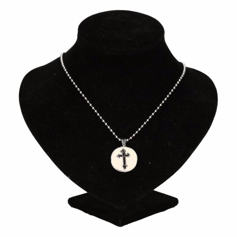 Zilveren bisschop medaillon zwart voor volwassenen