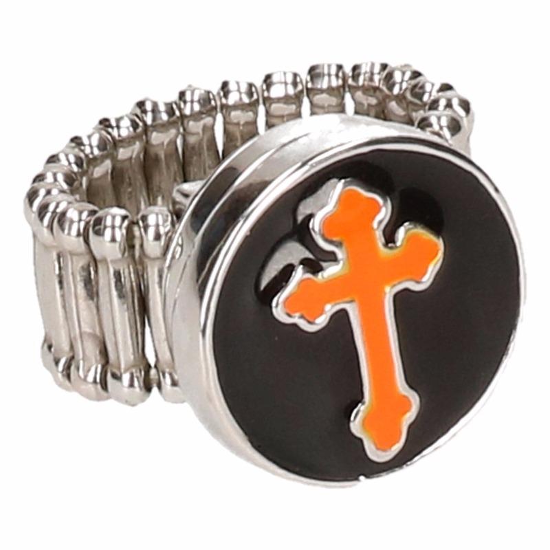 Zilveren bisschop ring oranje voor volwassenen