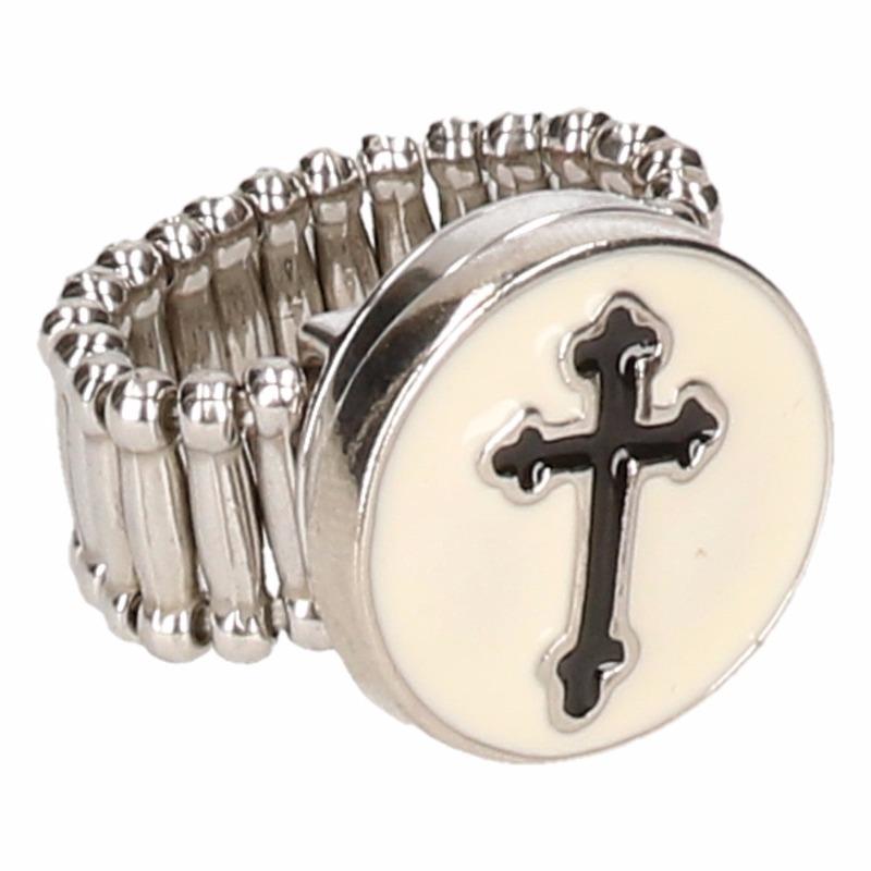 Zilveren bisschop ring zwart voor volwassenen