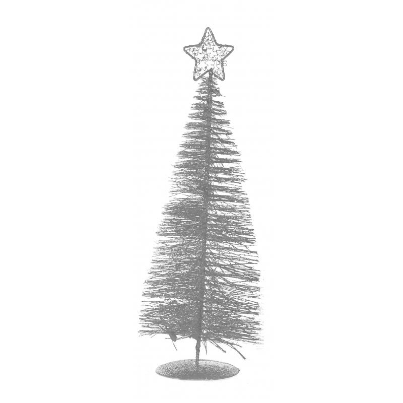 Zilveren deco kerstboom met ster 21 cm