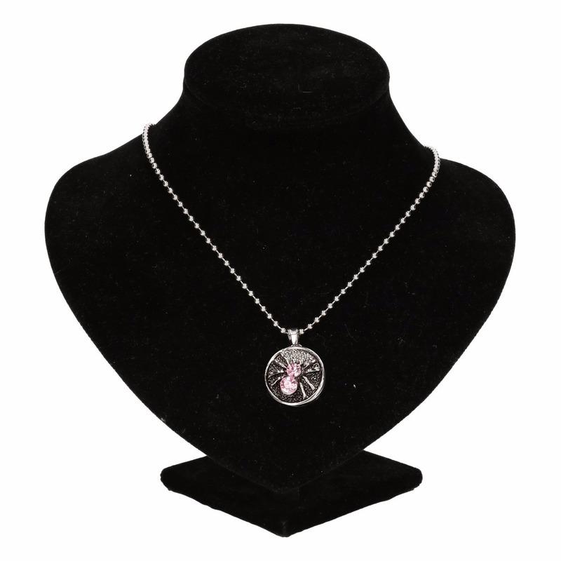 Zilveren heksen medaillon roze voor volwassenen
