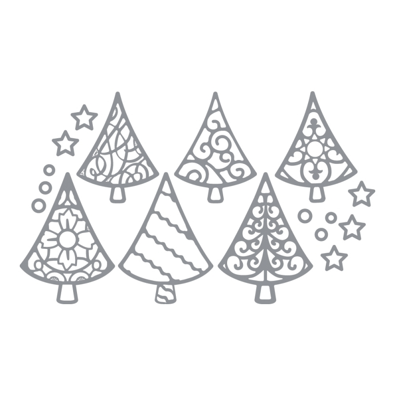 Zilveren kerstboom stickers