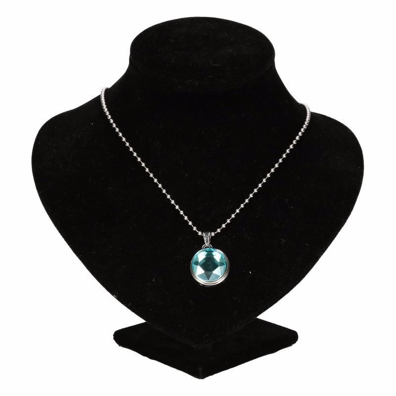 Zilveren prinsessen medaillon blauwe diamant voor volwassenen