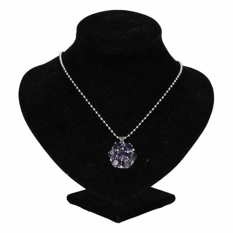 Zilveren prinsessen medaillon paarse bloem voor volwassenen