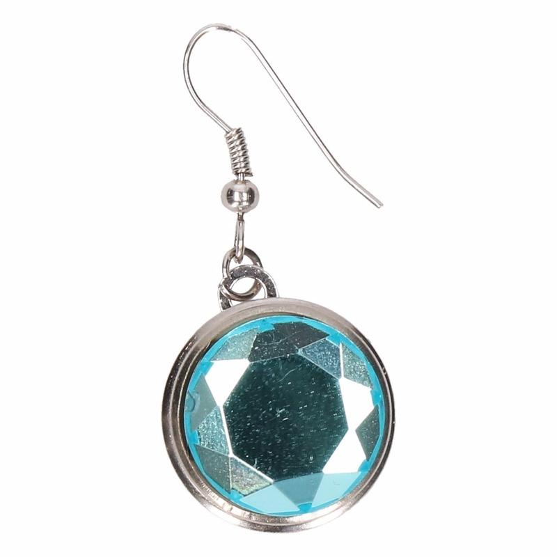 Zilveren prinsessen oorbellen blauwe diamant voor volwassenen