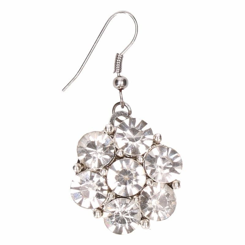 Zilveren prinsessen oorbellen zilveren bloem voor volwassenen