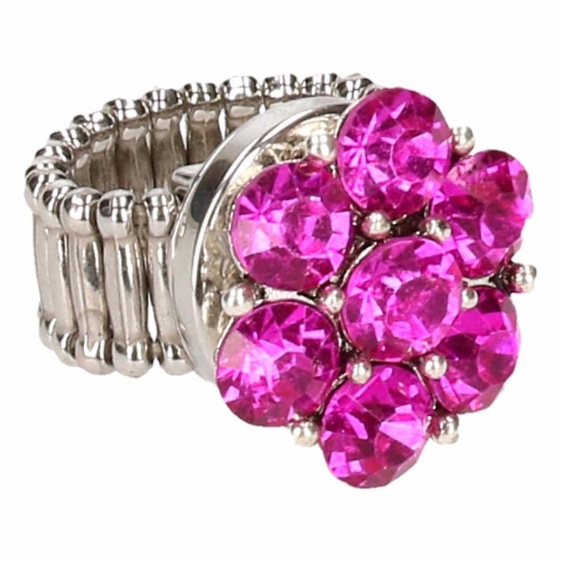 Zilveren prinsessen ring roze bloem voor volwassenen