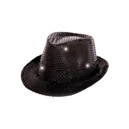Zwart pailletten hoedje met LED licht