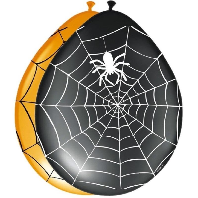 Zwarte ballonnen met spinnenweb 24 stuks
