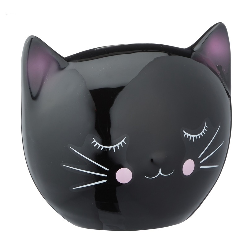 Zwarte spaarpot kattenhoofd 15 cm